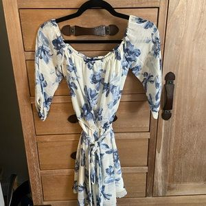 Off shoulder blue and white floral dress